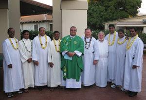 Pilrim priests from India visit Molokai and celebrate mass at St. Damien Catholic Church.